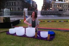 Crystal Bowl Soundbath at Breathe Adelaide Yoga Festival, Victoria Square Adelaide, 2014